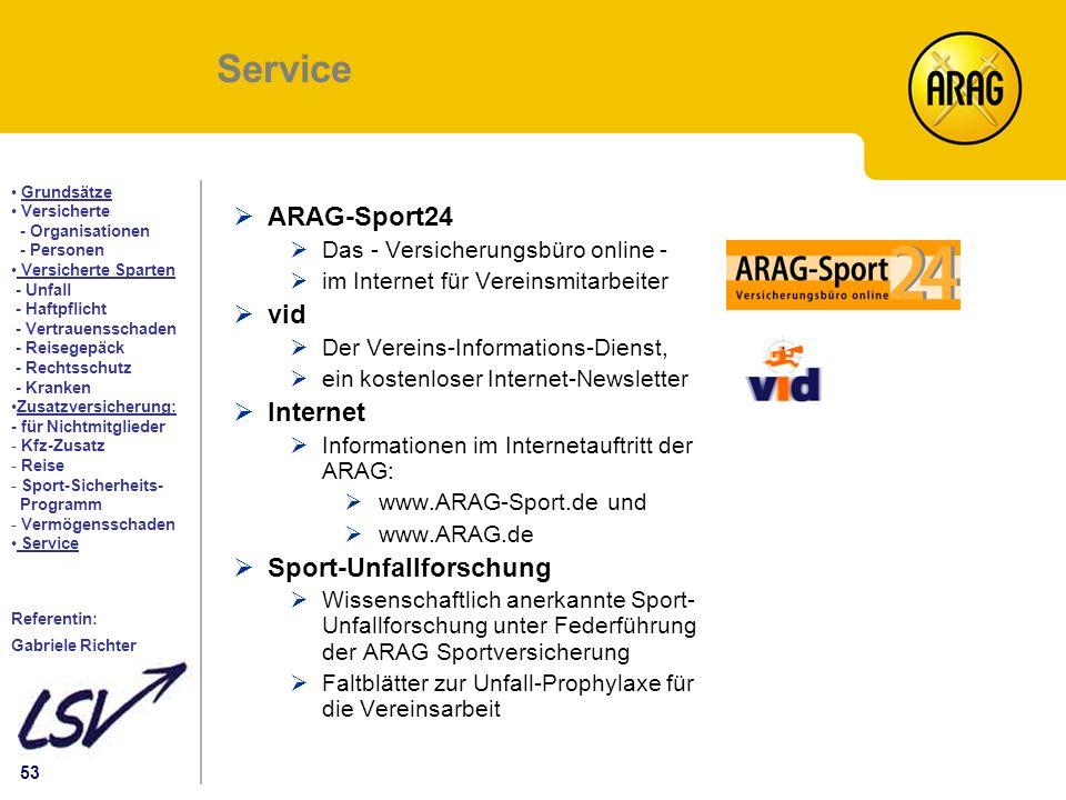 Service ARAG-Sport24 vid Internet Sport-Unfallforschung