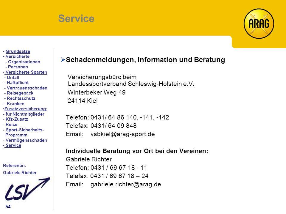 Service Schadenmeldungen, Information und Beratung