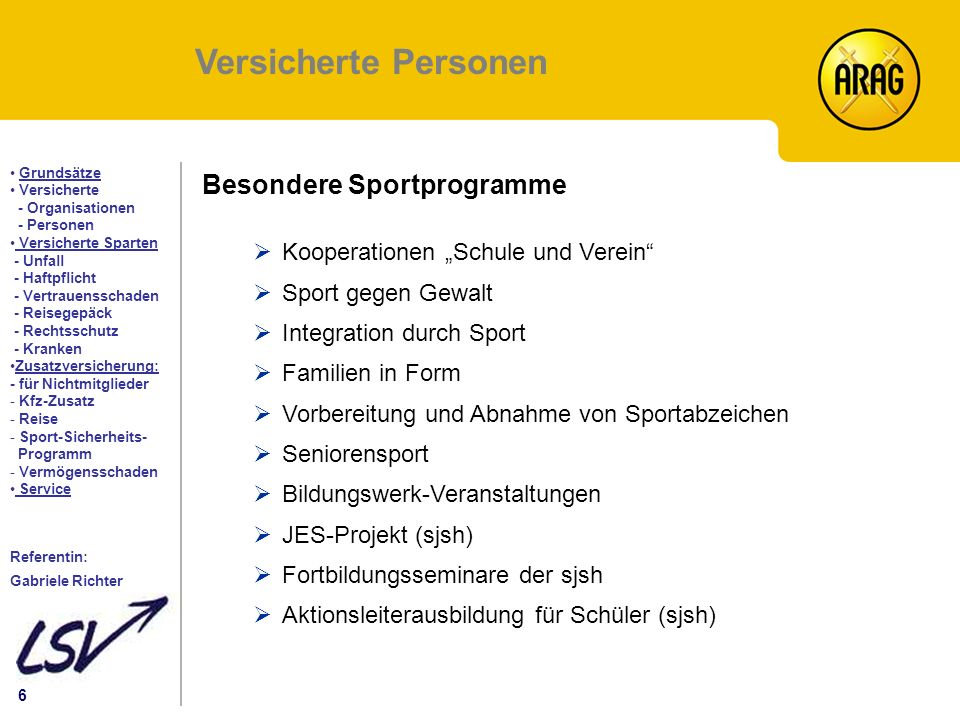Versicherte Personen Besondere Sportprogramme