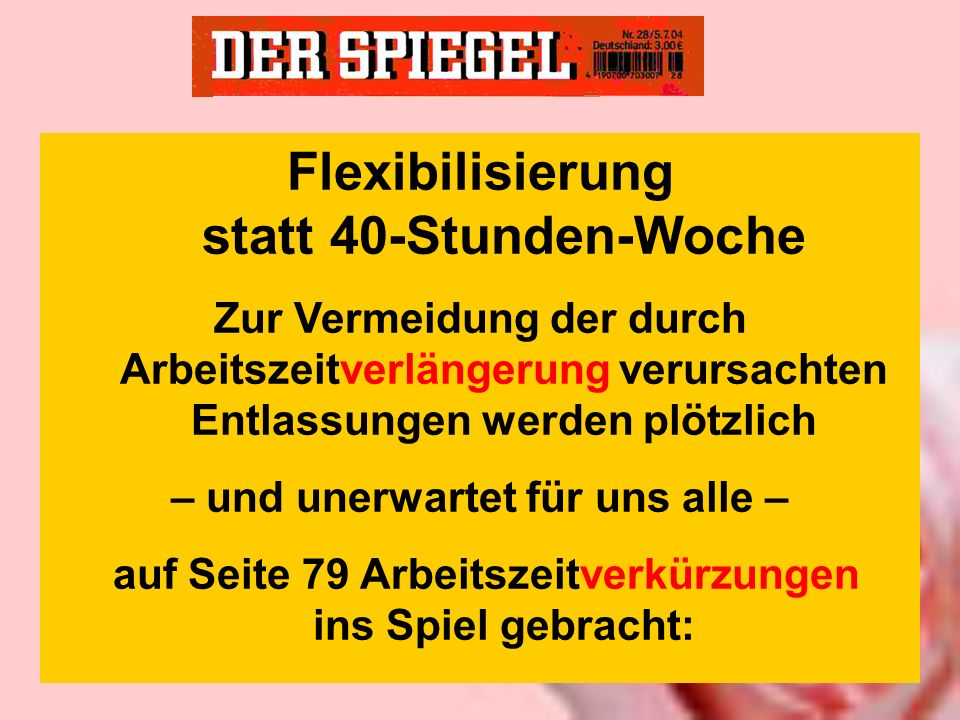 Flexibilisierung statt 40-Stunden-Woche