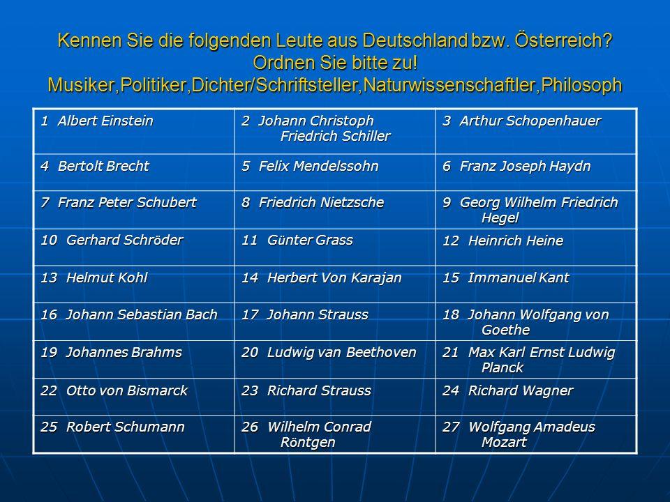 Kennen Sie die folgenden Leute aus Deutschland bzw. Österreich