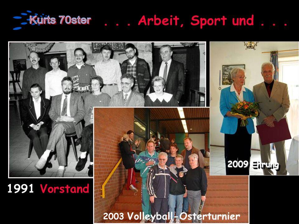 . . . Arbeit, Sport und . . . 1991 Vorstand 2009 Ehrung