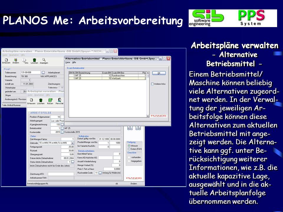 Arbeitspläne verwalten - Alternative Betriebsmittel -