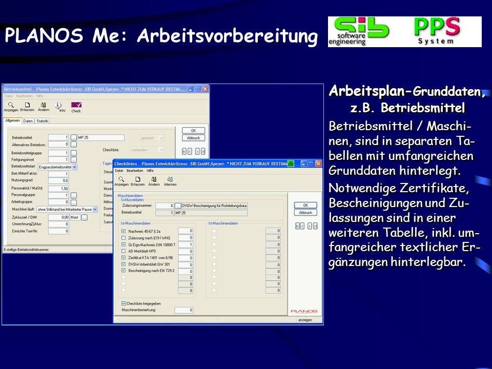 Arbeitsplan-Grunddaten, z.B. Betriebsmittel