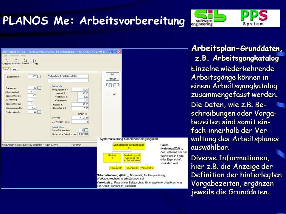 Arbeitsplan-Grunddaten, z.B. Arbeitsgangkatalog