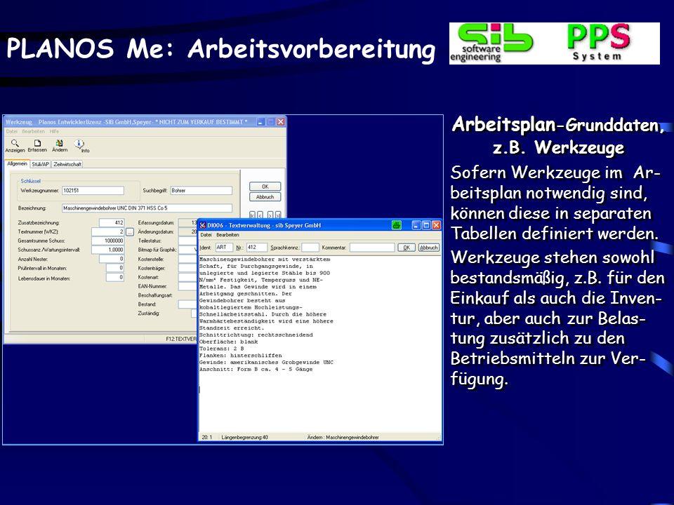 Arbeitsplan-Grunddaten, z.B. Werkzeuge