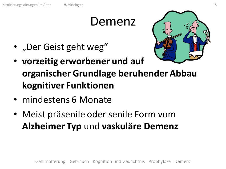 Gehirnalterung Gebrauch Kognition und Gedächtnis Prophylaxe Demenz