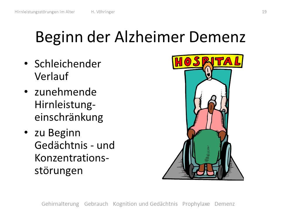 Beginn der Alzheimer Demenz