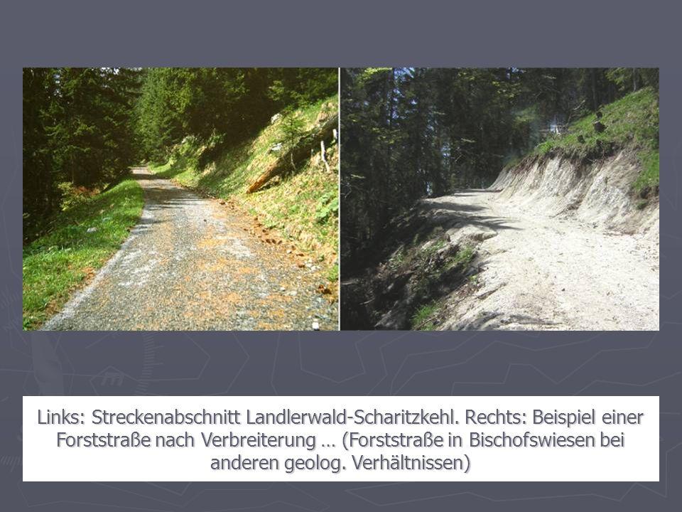 Links: Streckenabschnitt Landlerwald-Scharitzkehl