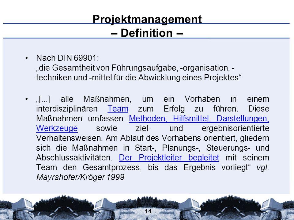 Projektmanagement – Definition –