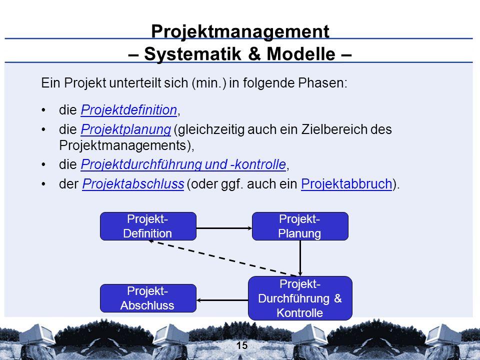 Projektmanagement – Systematik & Modelle –