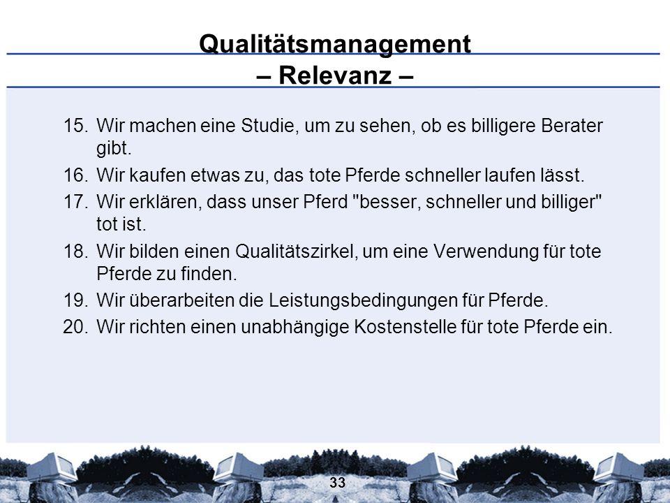 Qualitätsmanagement – Relevanz –