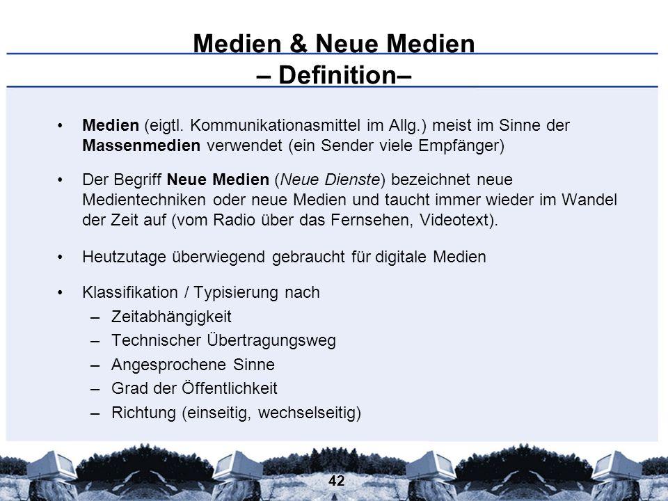 Medien & Neue Medien – Definition–