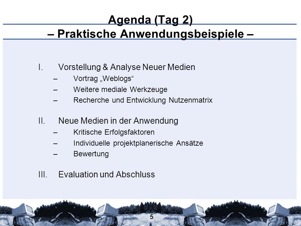 Agenda (Tag 2) – Praktische Anwendungsbeispiele –