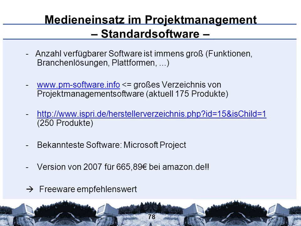 Medieneinsatz im Projektmanagement – Standardsoftware –