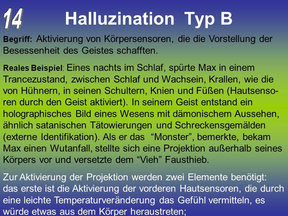 Halluzination Typ B 14. Begriff: Aktivierung von Körpersensoren, die die Vorstellung der Besessenheit des Geistes schafften.