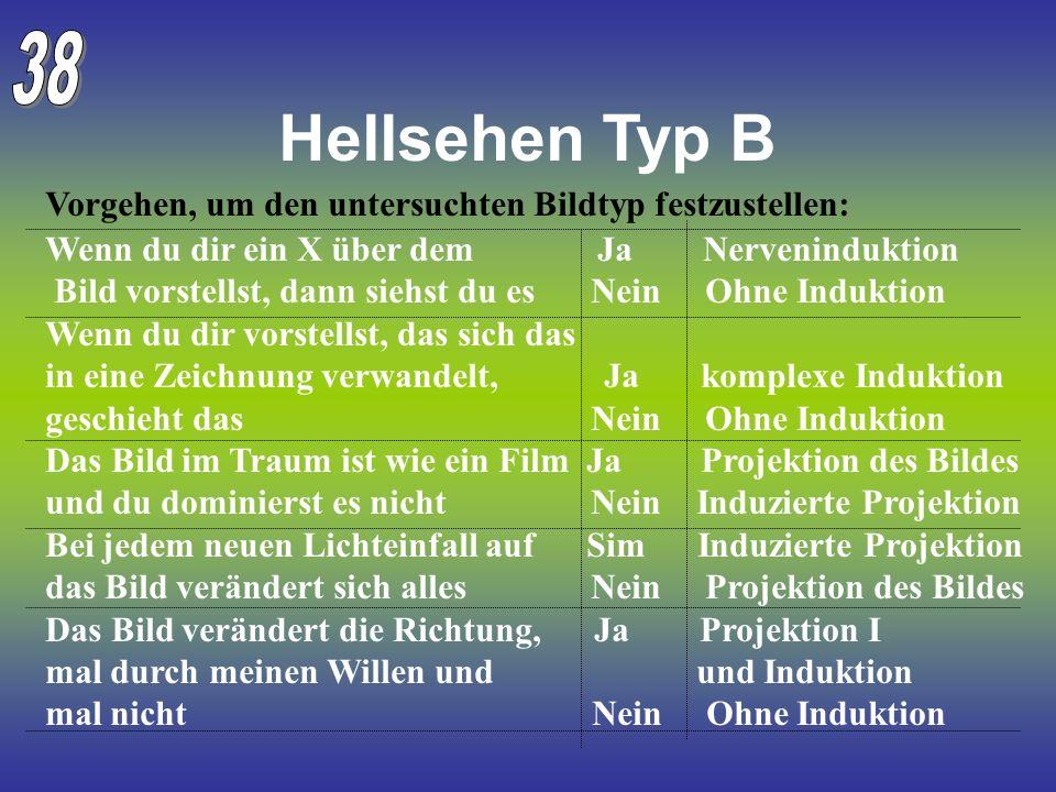 38 Hellsehen Typ B. Vorgehen, um den untersuchten Bildtyp festzustellen: Wenn du dir ein X über dem Ja Nerveninduktion.