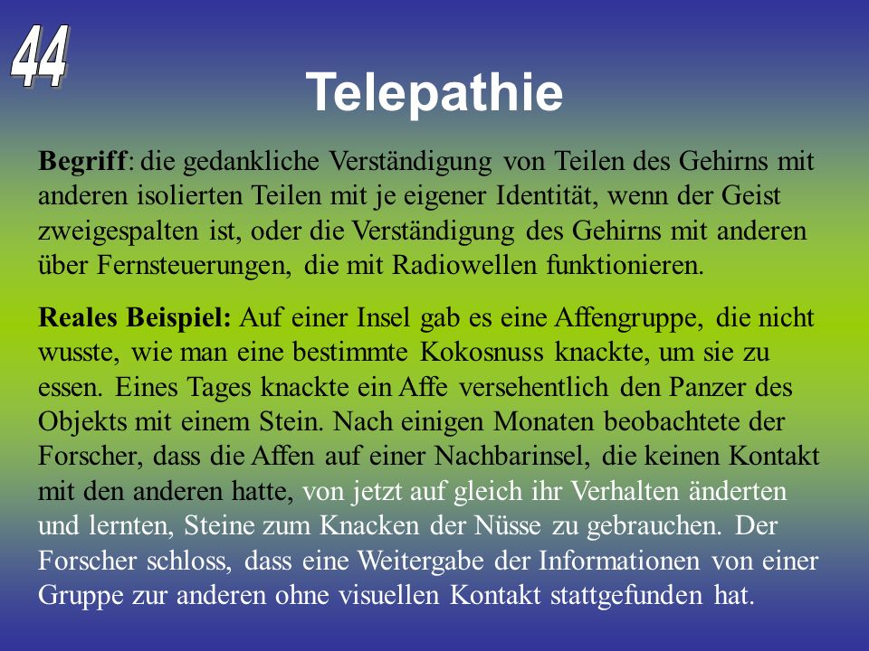44 Telepathie.