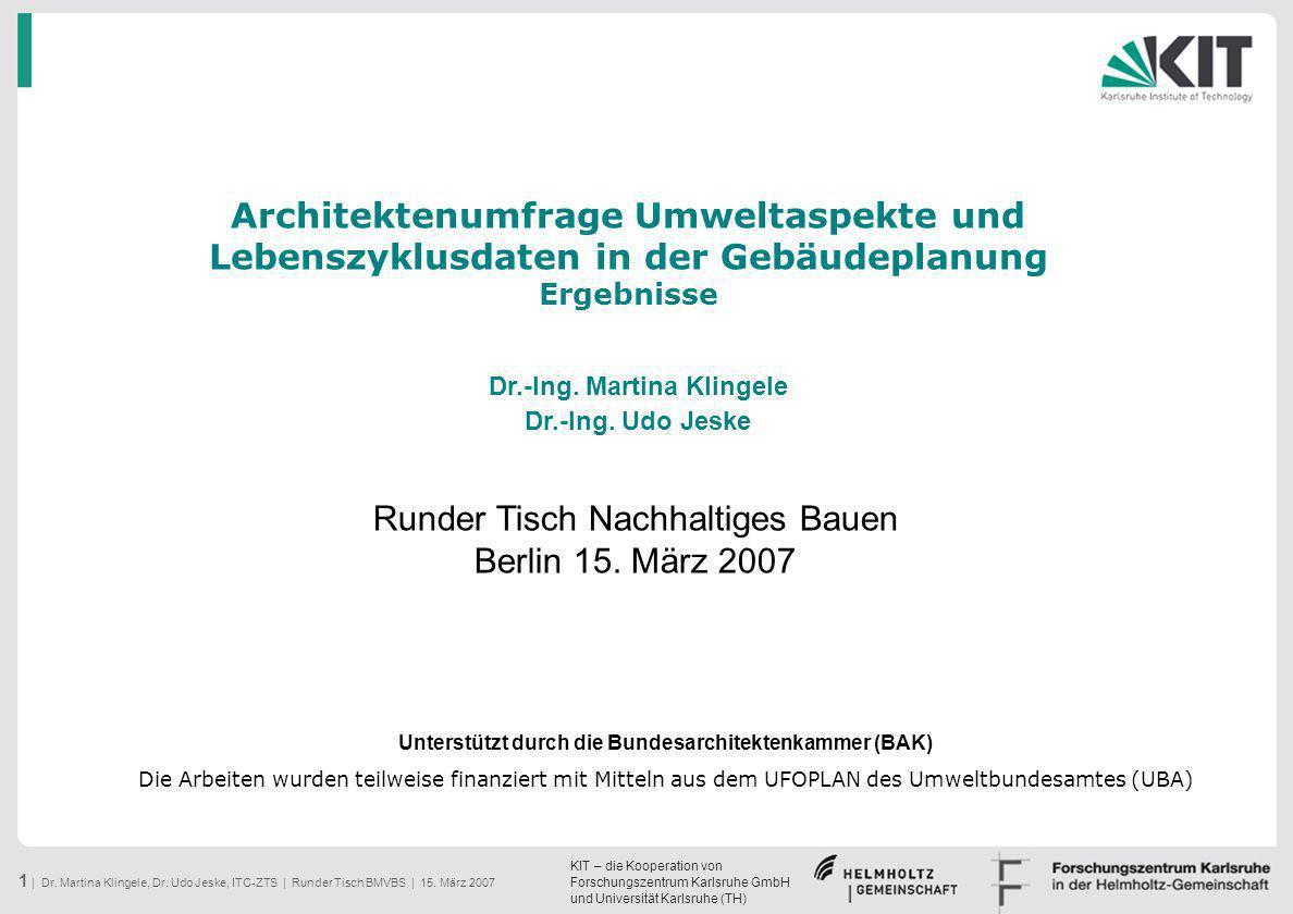 Runder Tisch Nachhaltiges Bauen Berlin 15. März 2007
