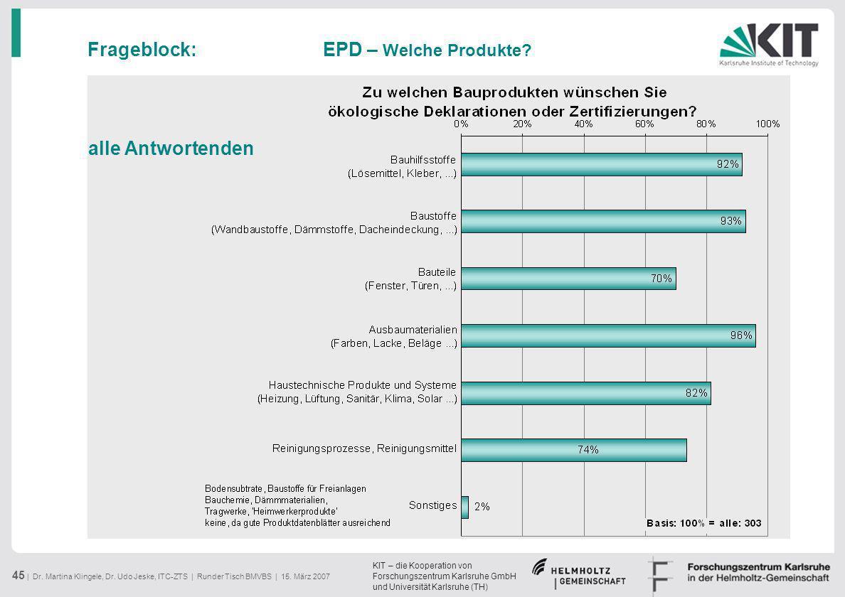 Frageblock: EPD – Welche Produkte