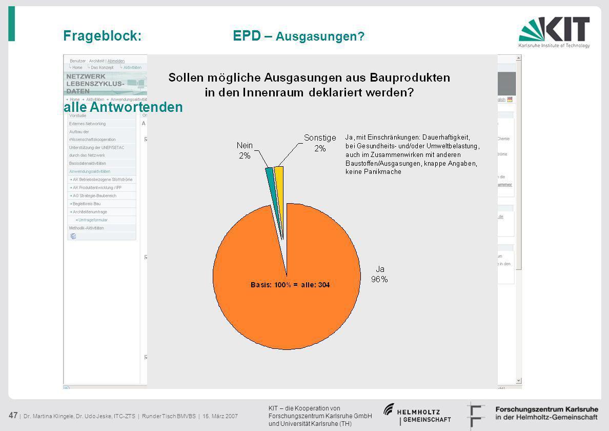 Frageblock: EPD – Ausgasungen