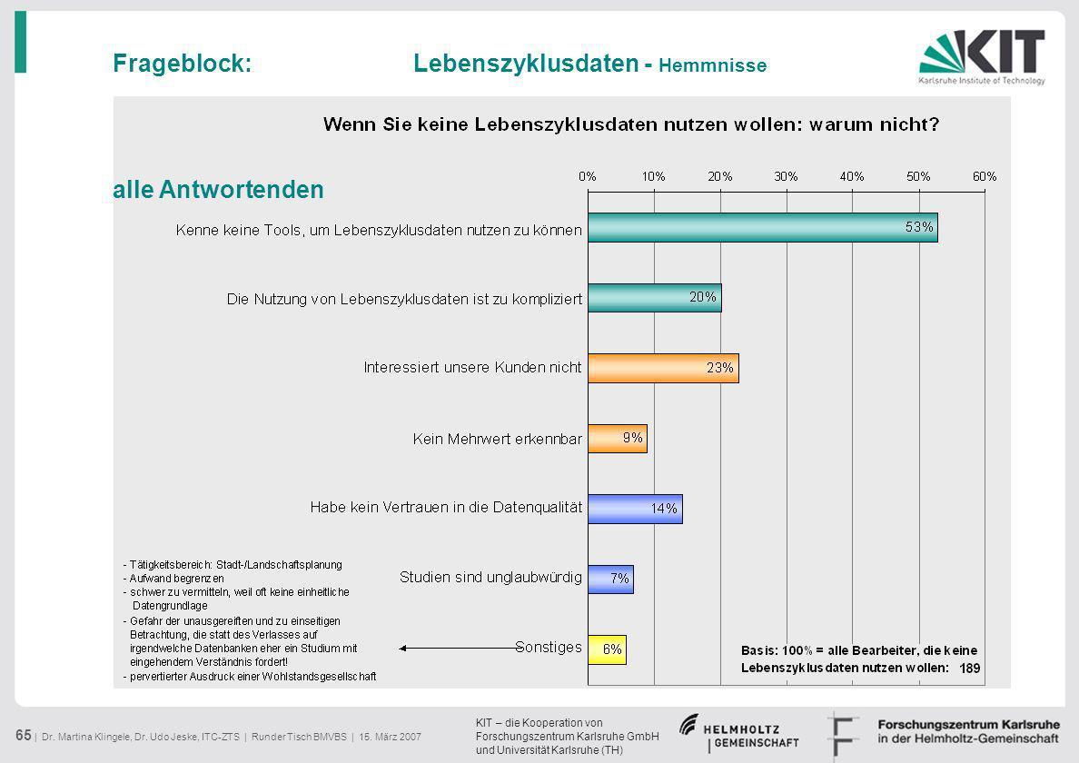 Frageblock: Lebenszyklusdaten - Hemmnisse