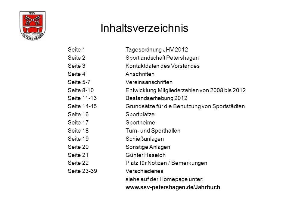 Inhaltsverzeichnis Seite 1 Tagesordnung JHV 2012