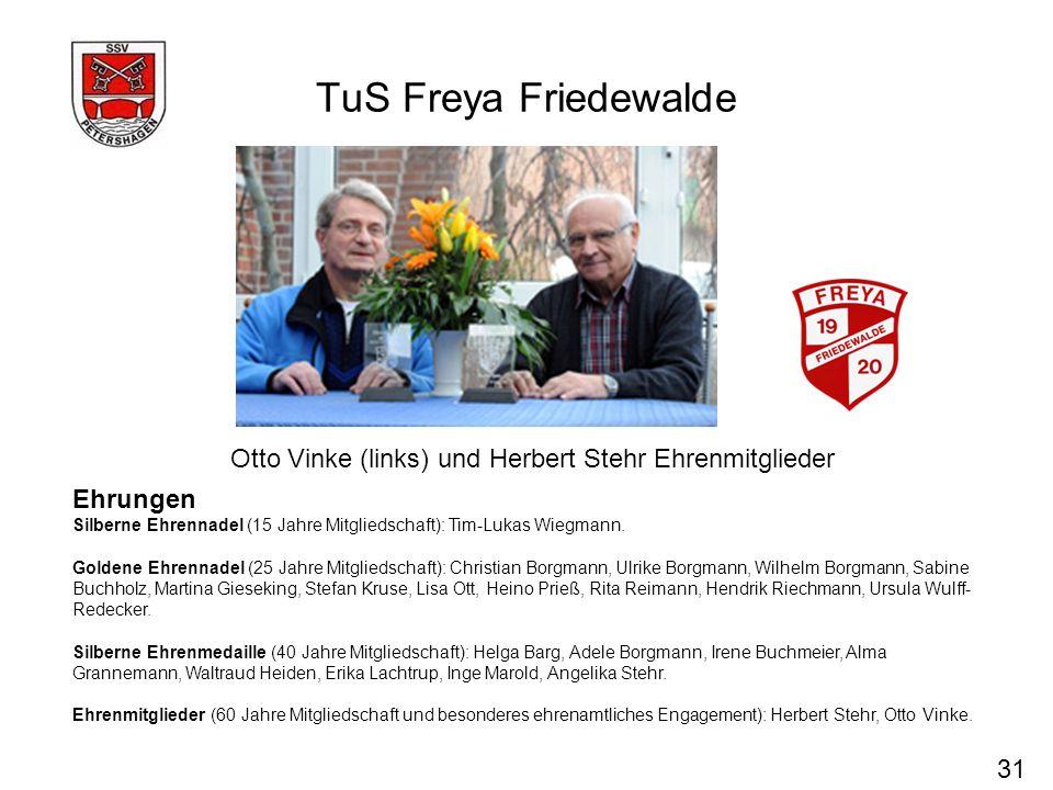 TuS Freya FriedewaldeOtto Vinke (links) und Herbert Stehr Ehrenmitglieder. Ehrungen.