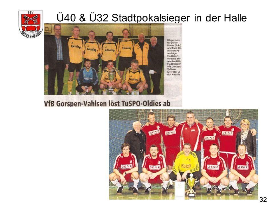 Ü40 & Ü32 Stadtpokalsieger in der Halle