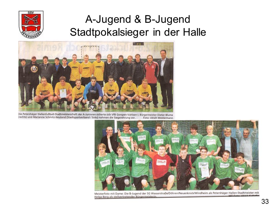 A-Jugend & B-Jugend Stadtpokalsieger in der Halle