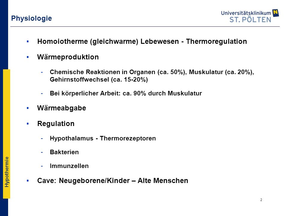 Homoiotherme (gleichwarme) Lebewesen - Thermoregulation