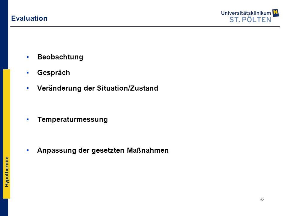 Evaluation Beobachtung. Gespräch. Veränderung der Situation/Zustand.