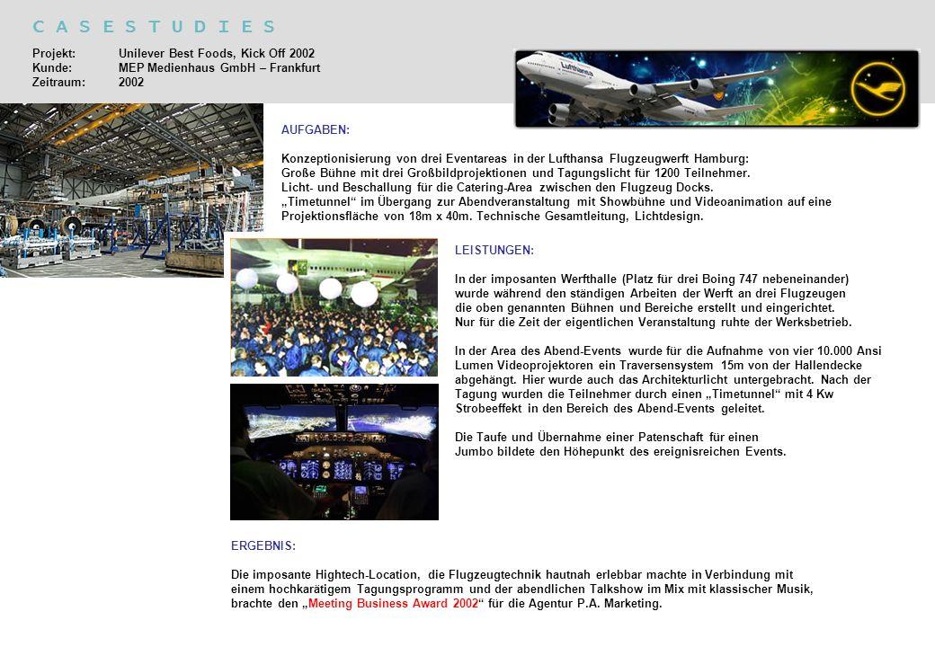C A S E S T U D I E S Projekt: Unilever Best Foods, Kick Off 2002 Kunde: MEP Medienhaus GmbH – Frankfurt Zeitraum: 2002.