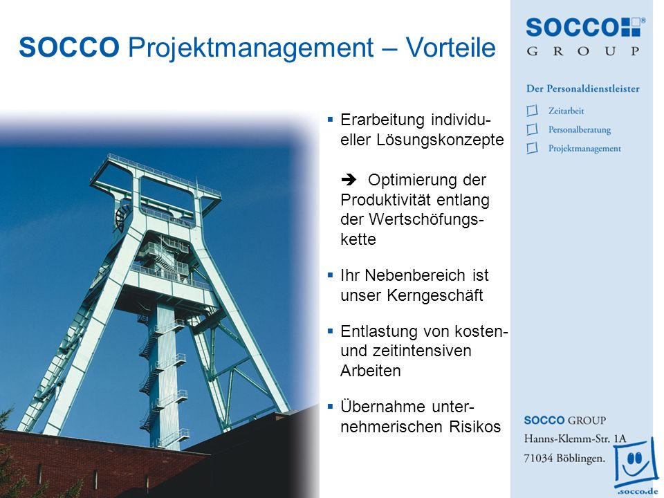 SOCCO Projektmanagement – Vorteile