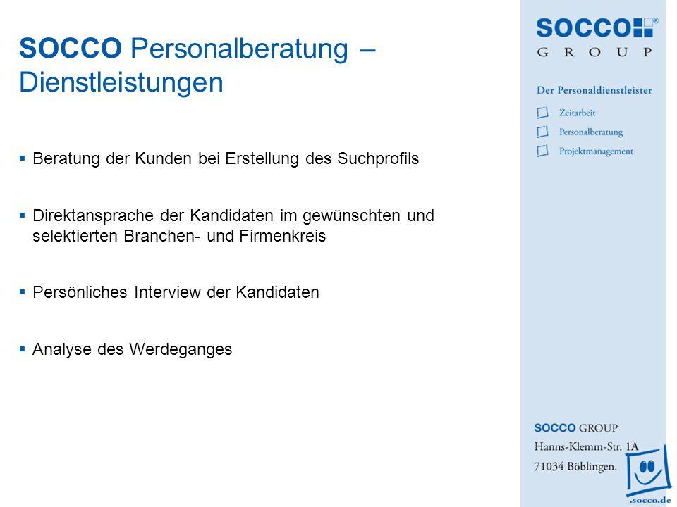 SOCCO Personalberatung – Dienstleistungen