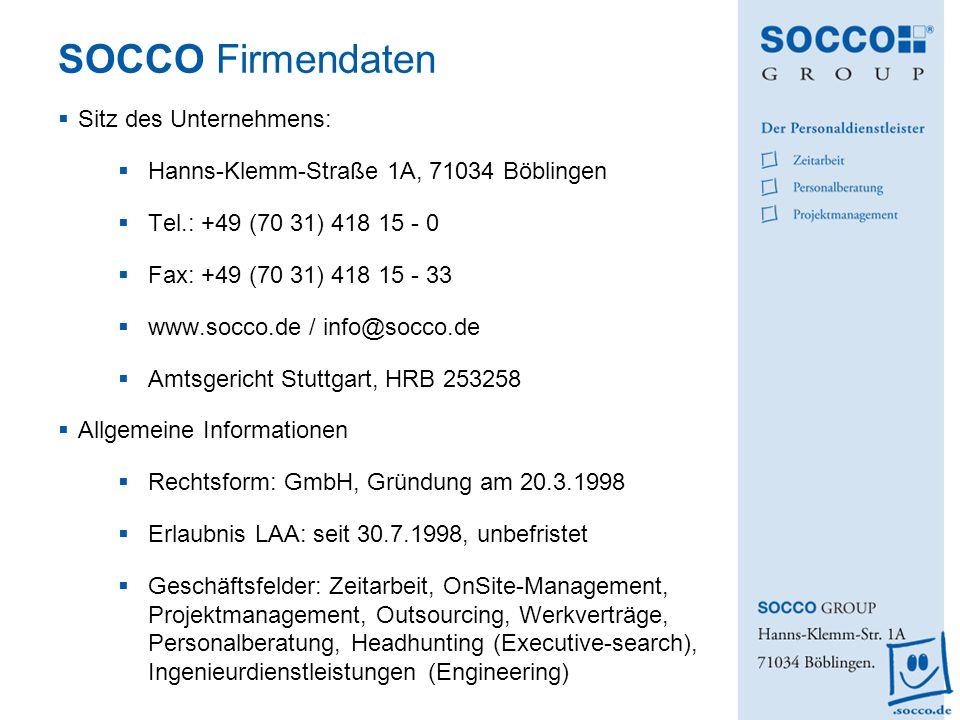 SOCCO Firmendaten Sitz des Unternehmens: