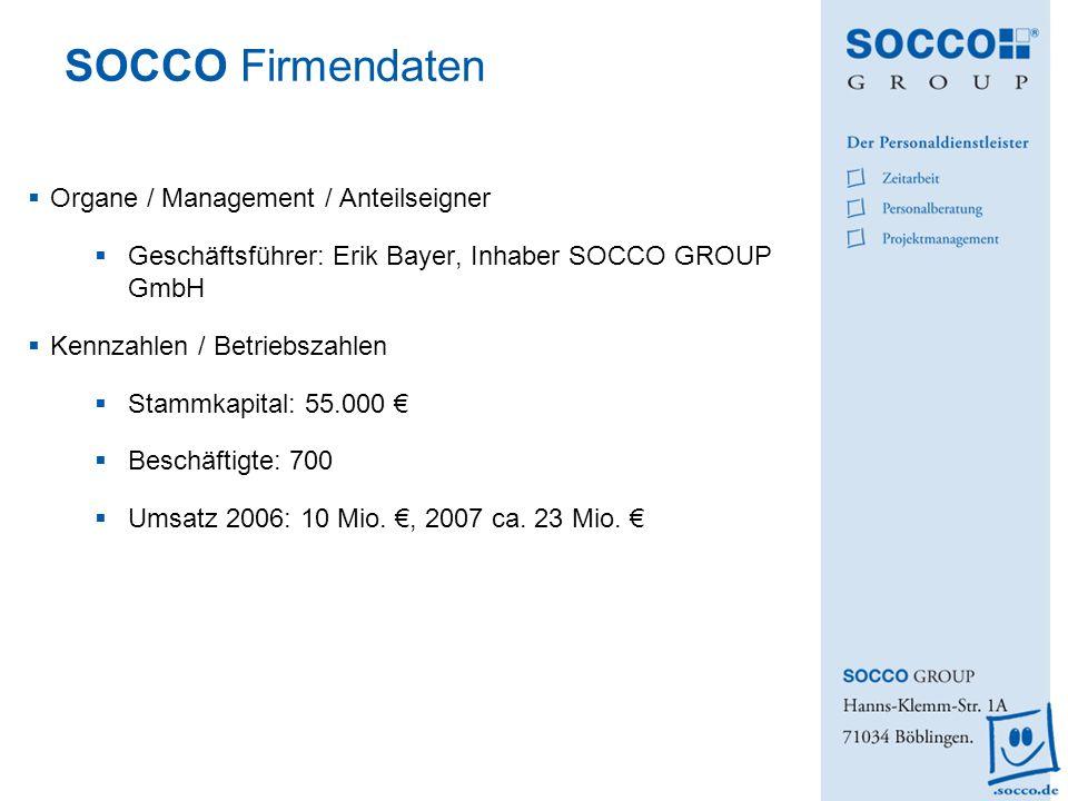 SOCCO Firmendaten Organe / Management / Anteilseigner