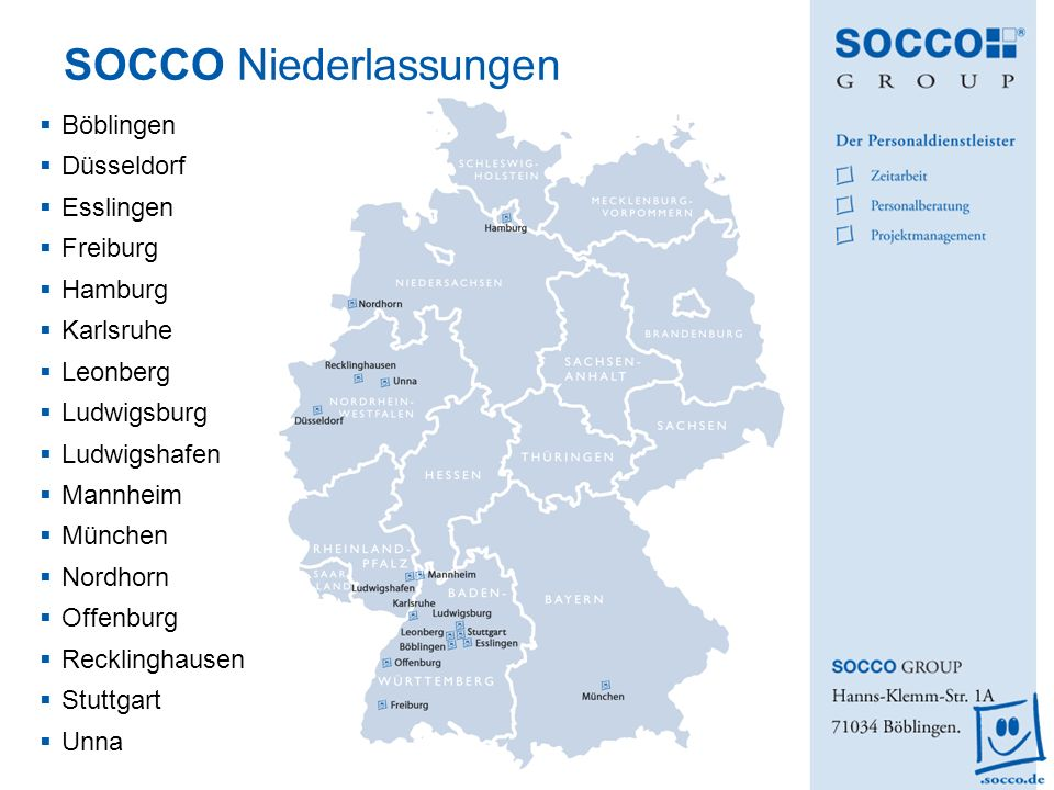 SOCCO Niederlassungen
