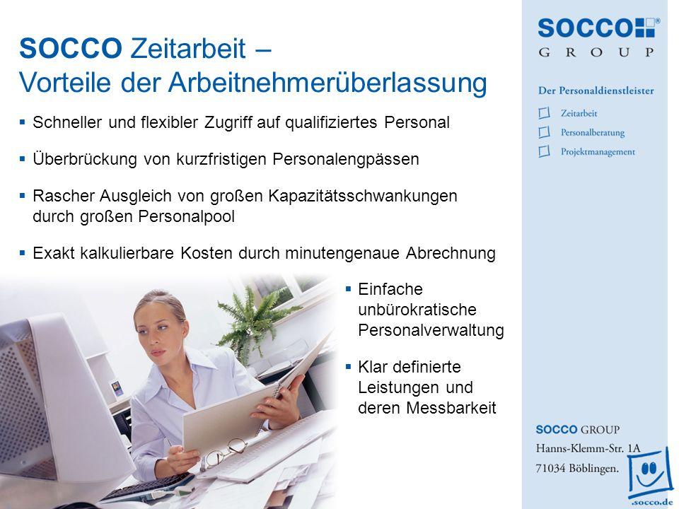SOCCO Zeitarbeit – Vorteile der Arbeitnehmerüberlassung