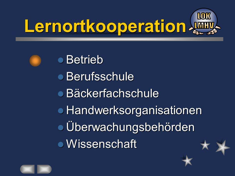 Lernortkooperation LOK LMHV Betrieb Berufsschule Bäckerfachschule