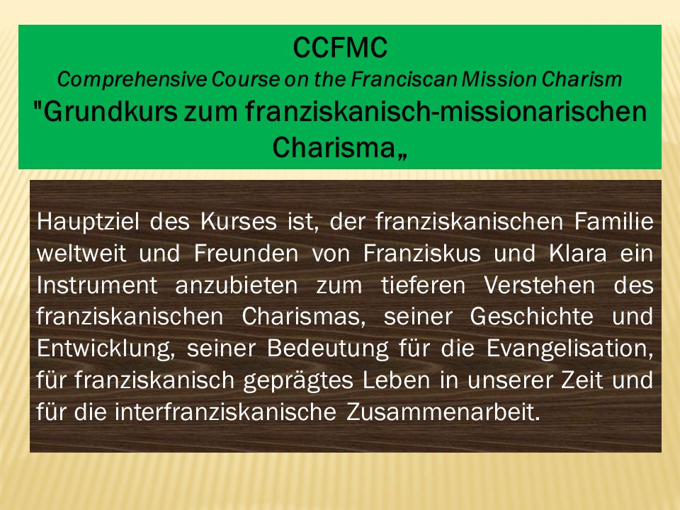 CCFMC Comprehensive Course on the Franciscan Mission Charism