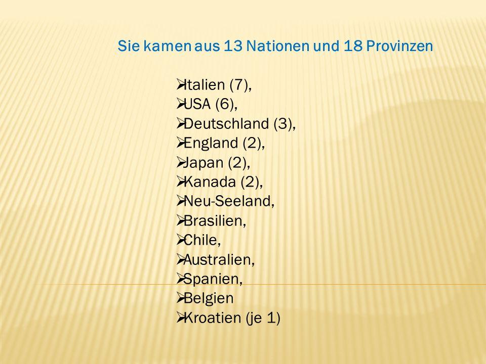 Sie kamen aus 13 Nationen und 18 Provinzen