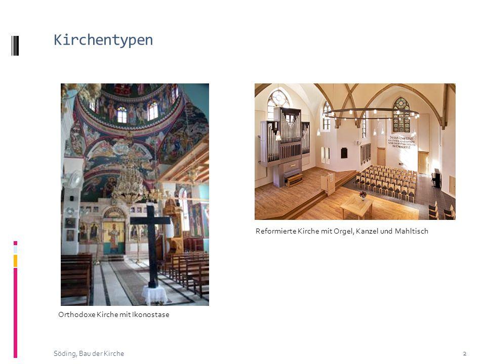 Kirchentypen Reformierte Kirche mit Orgel, Kanzel und Mahltisch
