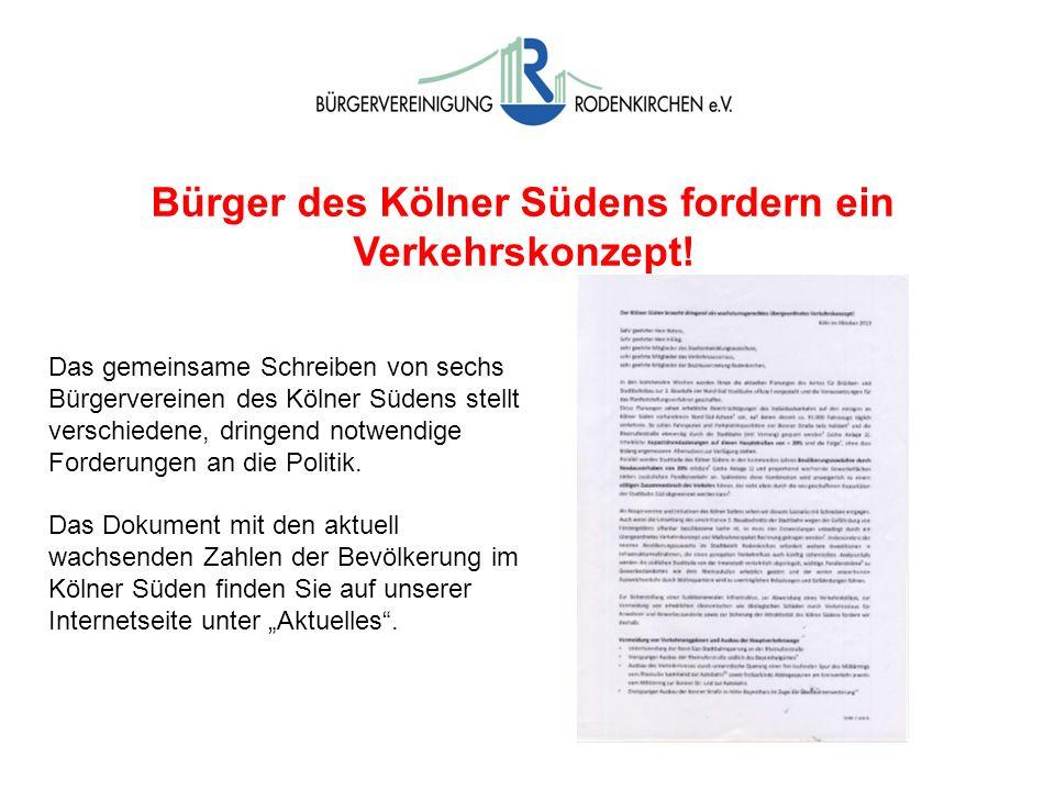 Bürger des Kölner Südens fordern ein Verkehrskonzept!
