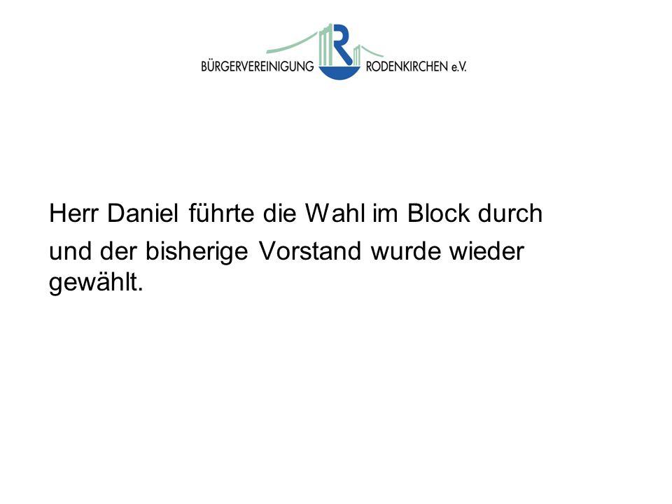 Wahlen Herr Daniel führte die Wahl im Block durch