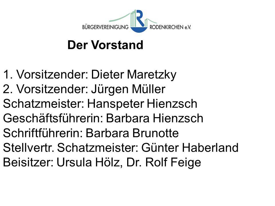 Der Vorstand 1. Vorsitzender: Dieter Maretzky. 2. Vorsitzender: Jürgen Müller. Schatzmeister: Hanspeter Hienzsch.