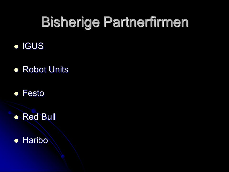 Bisherige Partnerfirmen