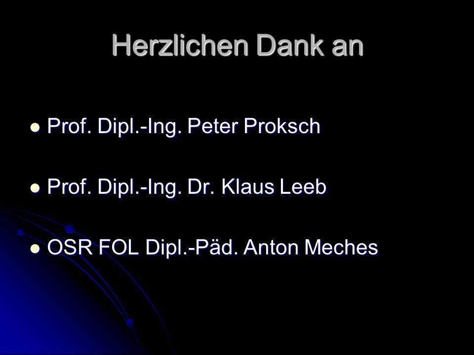 Herzlichen Dank an Prof. Dipl.-Ing. Peter Proksch