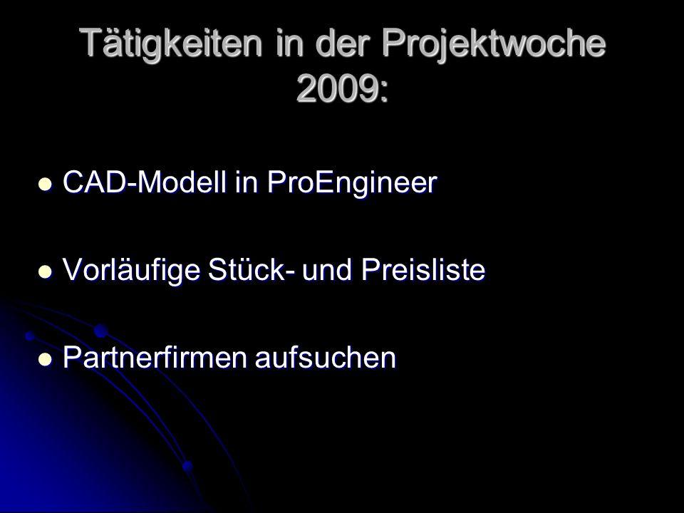 Tätigkeiten in der Projektwoche 2009: