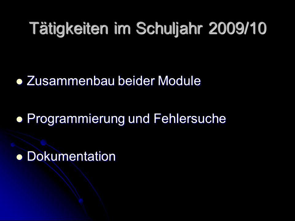 Tätigkeiten im Schuljahr 2009/10